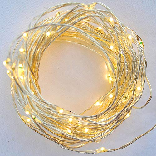 Sharpet 19.7ft Battery Operated Warm White LED String Lights. 100 Tiny Bright Lights on a 6M Flexible Silver-coated Copper Wire.
