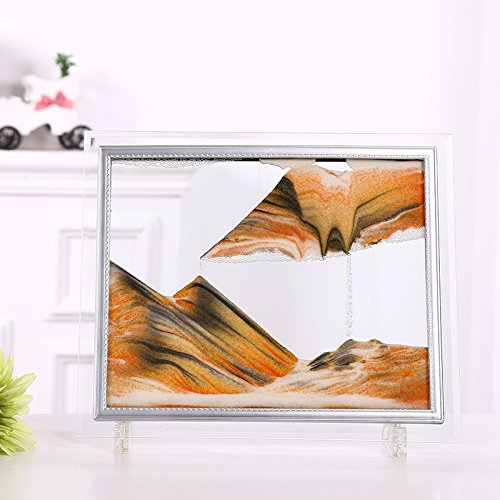 Dynamic Sand Picture,Sand Art(Black/White/Orange) (M)