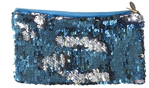 Bag Phone Silver Zipper Holder Cell Purse Sequin Mermaid Evening Blue With With Clutch Lt OwEnYq