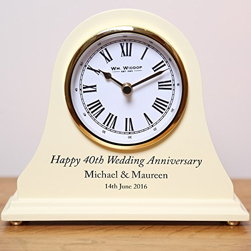 50th Wedding Anniversary Gifts Engraved Wooden Clock Golden Amazoncouk Kitchen Home
