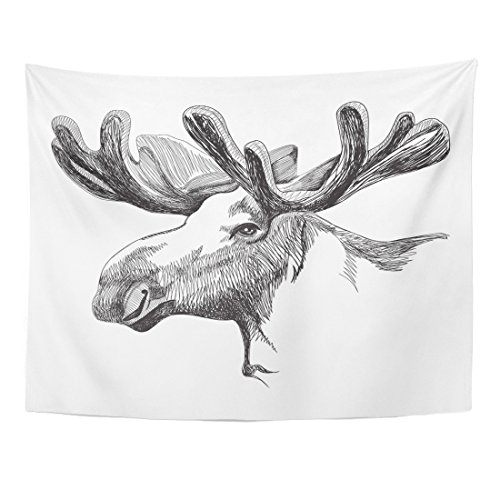 TOMPOP Tapestry Brown Portrait of Big Moose Antlers in Graphic Home Decor Wall Hanging for Living Room Bedroom Dorm 60x80 Inches ()