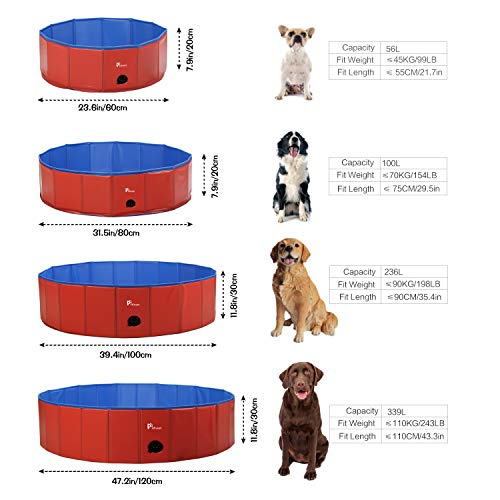 Pidsen Foldable Dog Pet Bath Pool Pet Swimming Tub Collapsible Dog Pet Tub for Dogs, Cats or Kids (47.2'' D×11'' H, Red)