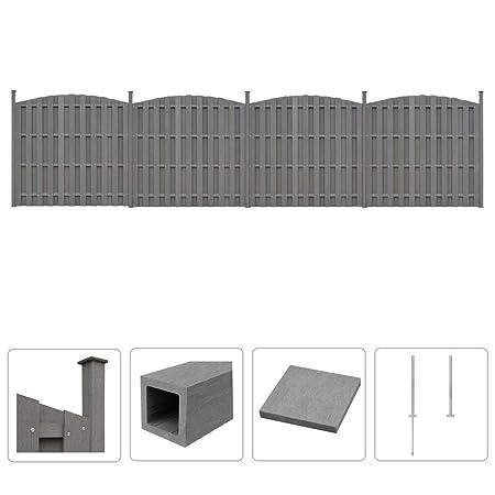 Recinzioni Per Giardino In Cemento.Tidyard Set Pannelli Recinzione In Wpc 2 Curvi Recinzione Per