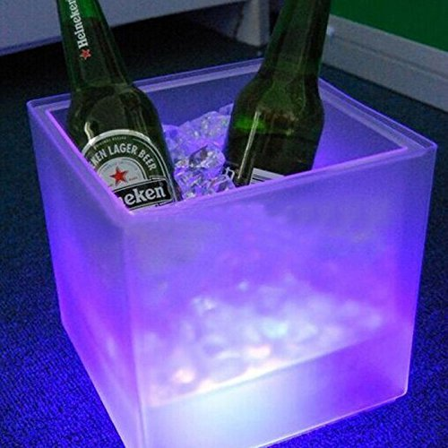 Hiquty LED Ice Bucket Double RGB Color Layer Square Bar KTV Beer Ice - Review Sunglasses Ie