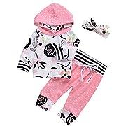 3Pcs Baby Girls Cute Floral Hoodie Sweatshirt+Polka Dots Pants Outfits Set (0-6M, Pink)