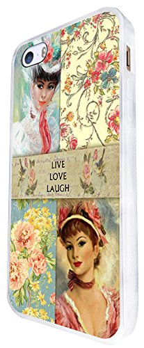080 - Vintage Shabby Chic Live Love Laugh Floral Roses Design iphone SE - 2016 Coque Fashion Trend Case Coque Protection Cover plastique et métal - Blanc