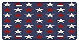 zaeshe3536658 Primitive Country License Plate, Symmetric Stars United States Independence Freedom Theme Print, High Gloss Aluminum Novelty Plate, 6 X 12 Inches, Dark Blue Ruby White