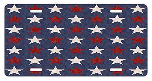 zaeshe3536658 Primitive Country License Plate, Symmetric Stars United States Independence Freedom Theme Print, High Gloss Aluminum Novelty Plate, 6 X 12 Inches, Dark Blue Ruby White by zaeshe3536658