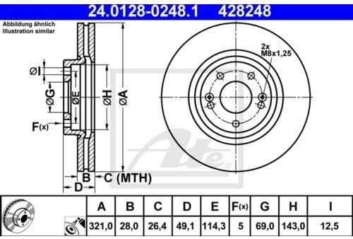 2x ATE BREMSSCHEIBEN /Ø321 mm SET VORNE