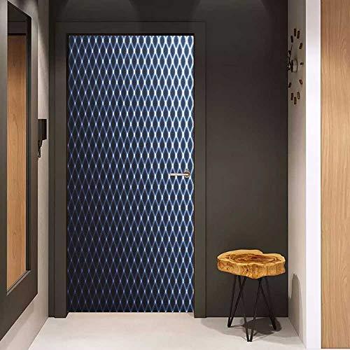 Door Sticker Dark Blue Diagonal Checkered Pattern Halftone Technology Inspired Modern Futuristic Glass Film for Home Office W38.5 x H79 Dark Blue - Snap Diagonal Checkered