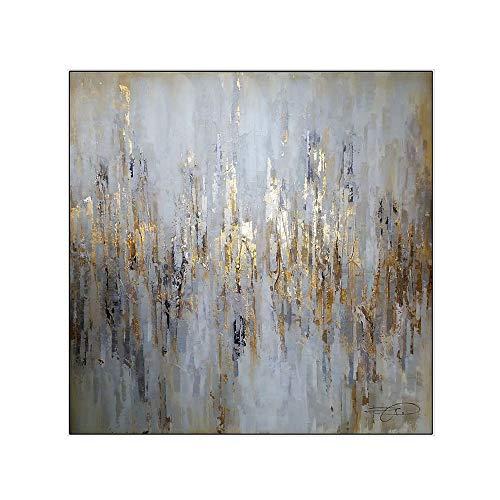 YCRD Tableau en Acrylique Peint à la Main - Peinture Abstrait sur Toile - Art Moderne - Décoration Murale, Toile, 75×75cm