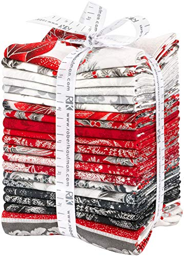 Peggy Toole Holiday Flourish 12 Scarlet 19 Fat Quarters 1 Panel Robert Kaufman Fabrics - Batik Christmas
