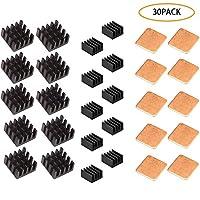 GCOA 30 PCS Raspberry Pi Heatsink Kit Aluminum + Copper Pad Shims + 3M Thermal Conductive Adhesive Tape for Cooling Cooler Raspberry Pi 3 B+, Pi 3 B, Pi 2, Pi Model B+,Black