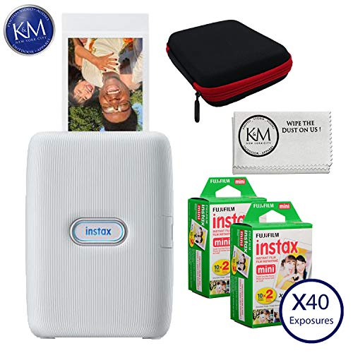 Review Fujifilm Instax Mini Link Smartphone Printer (Ash White) with Essential Bundle: Includes - Ke...