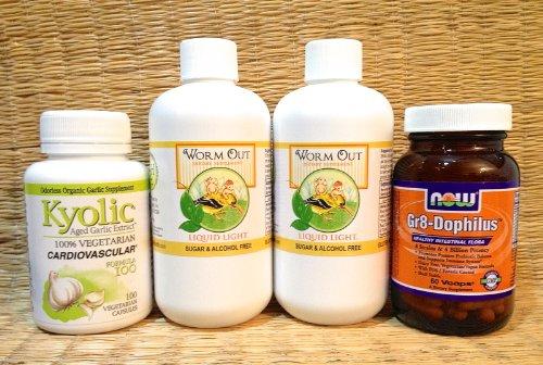 Parásito limpiar bienestar Kit (pequeño tamaño adulto): Antiparásito, fungicida, Detox - incluye: gusano Kyolic ajo y Gr8 Dophilus probiótico