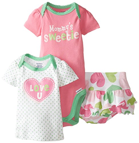 Gerber Baby Girls' 3 Piece Bodysuit Mommy's Sweetie Shirt and Panty Set, Pink, 24 Months