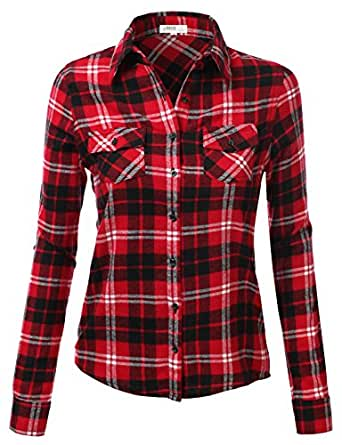 J.TOMSON Womens Long Sleeve Button Down Plaid Flannel Shirt RED BLACK SMALL
