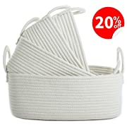 Cotton Rope Storage Baskets with Yarn Handles, Set of 4 Toy Organizer Nursery Decor, Gift Baskets