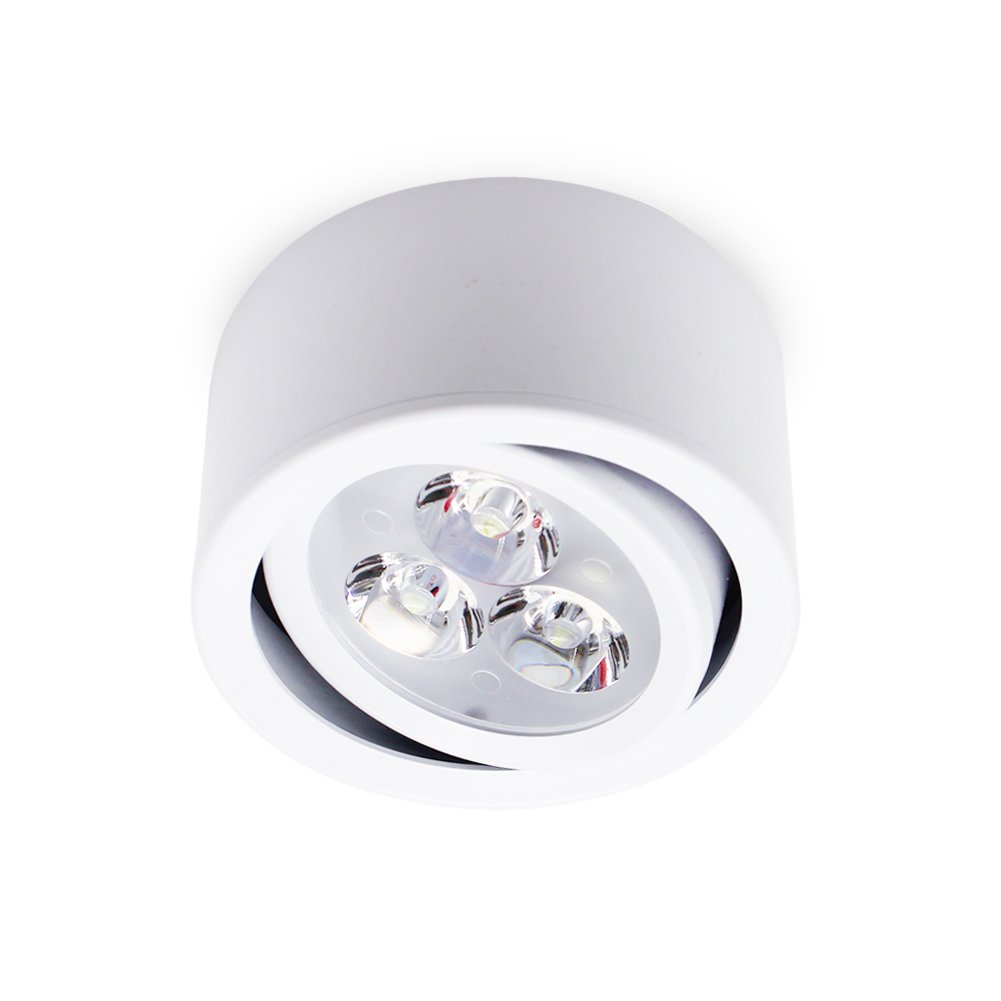 Brightsky 3w LED Adjustable Angle Spotlight Downlight TV Corridor Backdrop Light Round Mount White Housing Warm White Color