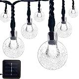 Vmanoo Christmas Solar Powered Globe Lights,30 LED (19.7 Feet) Globe Ball Fairy String Light for Outdoor, Xmas Tree, Garden, Patio, Home, Lawn, Holiday, Wedding,Waterproof (White)
