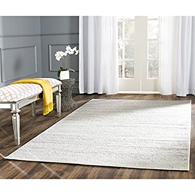 Safavieh Adirondack Collection ADR113B Modern Ombre Area Rug, 6' x 9', Ivory/Silver - High-quality polypropylene pile fiber, known for its legendary durability and endurance, adds longevity to these rugs Refined power-loomed construction allows for an intricate design and a virtually non-shedding rug Contemporary design can be easily integrated into most styles of décor. Woven backing - living-room-soft-furnishings, living-room, area-rugs - 51XtbyHd03L. SS400  -