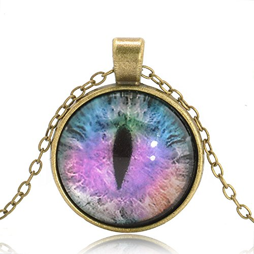 patcharin shop Fashion Colored Dragon Cat Eye Cabochon Glass Pendant Chain Necklace Jewelry Color Purple-Bronze