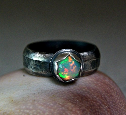 Natural Fire Opal Antiqued Rustic Style Sterling Silver Ring Wide (Opal Wide Band Ring)