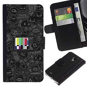 """A-type (Programas de dibujos animados"""") Colorida Impresión Funda Cuero Monedero Caja Bolsa Cubierta Caja Piel Card Slots Para Samsung Galaxy S4 Mini i9190 (NOT S4)"""
