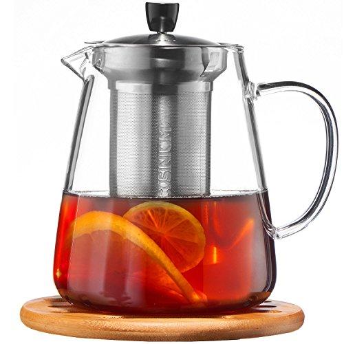 Glass Teapot with Infuser Set - 950ml Glass Tea Pot - Sleeve for Warmer Tea, Coaster & E-Book - Glass Tea Maker for Brewing Cold & Hot Tea - High Heat Resistance - Stovetop Safe