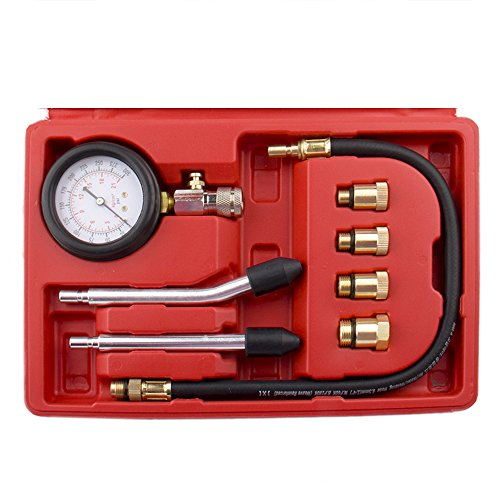Bang4buck 8 Pieces Engine Compression Gauge Test Set Cylinder Diagostic Tool Kit 0-300 PSI 0-20 KPA with Manual by Bang4buck (Image #2)