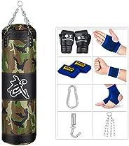 SFEEXUN Punching Bag for Man Women Kids, Indoor/Garden Boxing Bag Unfilled Heavy Bag Set with Punching Gloves,