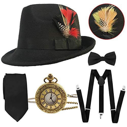 (1920s Mens Gatsby Costume Accessories,Manhattan Fedora Hat w/Feather,Vintage Pocket Watch,Suspenders Y-Back Trouser Braces,Pre Tied Bow Tie,Tie)
