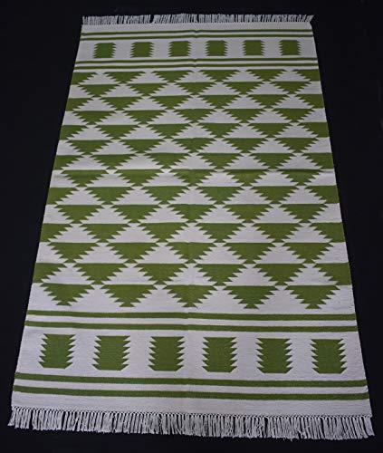 Handmade Cotton Kilim Rug Anatolia Modern Rug Green Color Flat Woven Rug Indian Dhurrie Rug Home Decorative Rug