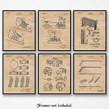 Original Hockey Patent Art Poster Prints, Set of 6 (8x10) Unframed Photos, Great Wall Art Decor Gifts Under 20 for Home, Office, Garage, Shop, Studio, Man Cave, Student, Teacher, Coach, Team, NHL Fan