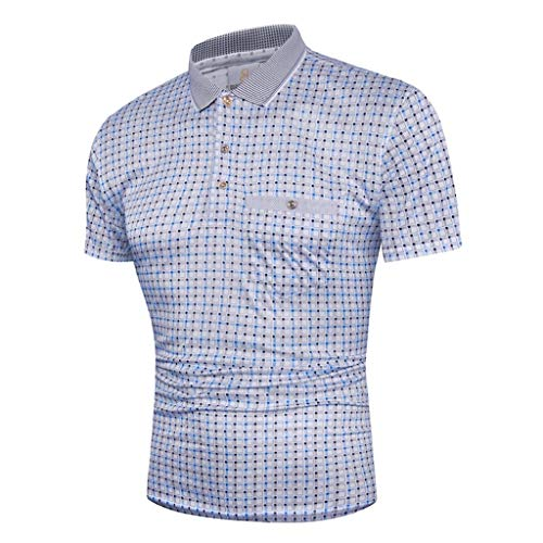 MmNote mens clothes clearance sale, Men's Premium Business Lattice Dot Button Pattern Quick-Dry Polo Short Sleeve T-Shirt Blue ()