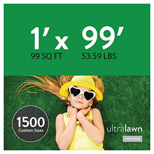UltraHedge 1 x 99 Ft UltraLawn Premiere Artificial Grass for Pet Lawn and Landscaping Outdoor or Indoor Green Faux Fake Grass Decor Mat Rug Carpet Turf 99 SqFt 1.6