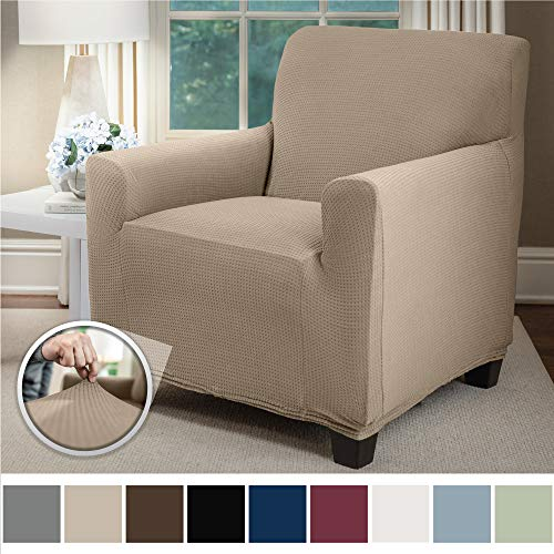 Sofa Shield Original Fitted 1 Piece Chair Slipcover, Soft Stretch, Seat Width Up to 23 Inch Furniture Protector, Washable Covers for Chairs, Spandex Fit Slip Cover, Dogs, Pets, Kids, Chair, Beige (Slipcovers For Living Room Chairs)
