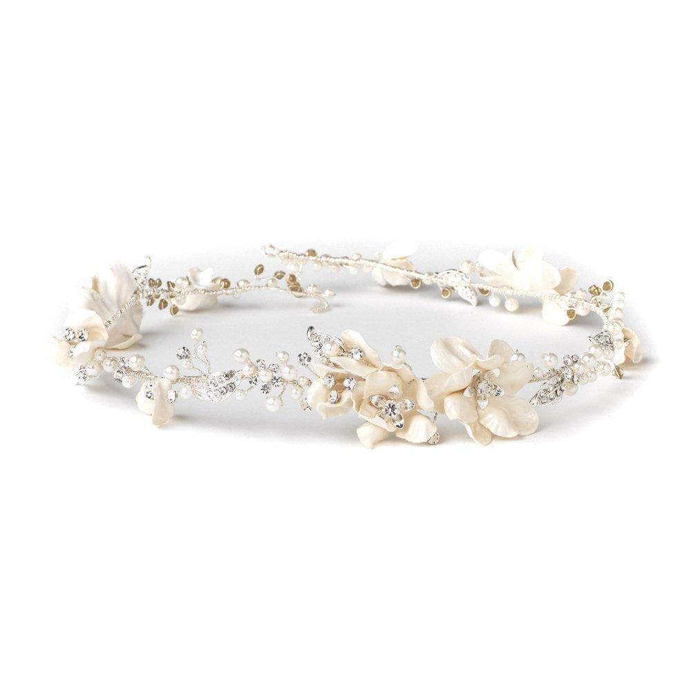 Rodeo Couture Bridal Silver Rhinestone & Ivory Pearl Bridal Vine Headband,Silver Headpiece,Bridal Pearl Headband