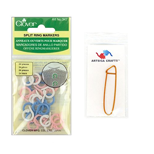 Clover Split Ring Markers 24/Pkg with 1 Artsiga Crafts Stitch Holder (Split Lock)