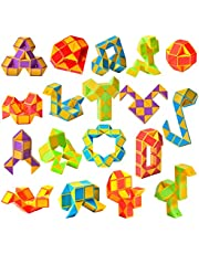 Ganowo 18 Pack Fidget Snake Cube Mini Twist PuzzleToys for Kids Teens Stocking Stuffer, Birthday Party Favors, Goodie Bags Fillers (Yellow)