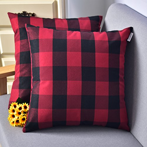 Natus Weaver Red & Black Buffalo Check Plaid Throw Pillow Cover Decorative Cushion Shams Pillowcase for Floor,18 x 18, 2 Pieces Checks Decorative Pillow
