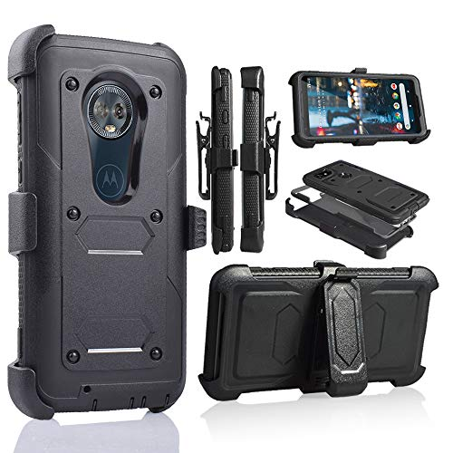 for Moto G6, Motorola G6 16gb 32gb Phone Case with Built in Screen Protector Shockproof Armor Hard Case Kickstand Holster Belt Clip (Black)