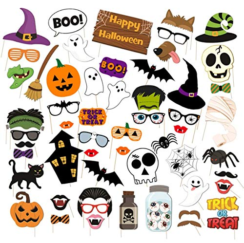 57Pcs Halloween Party Photo Booth Props Funny DIY Halloween Masks Party Favors Supplies Halloween Pose Sign Kit for Party