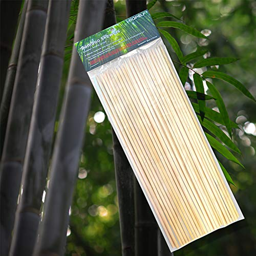 """HOPELF 200 Pieces 10"""" Natural Bamboo Skewers (0.16"""" Diameter) for Barbecue, Grill, Shish Kabob, Appetiser, Fruit, Chocolate Fountain, Cocktail, BBQ, Party (10 Inch (200 Pieces))"""