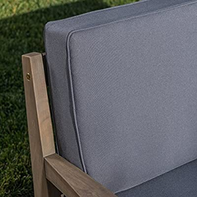 Christian Outdoor Grey Finished Acacia Wood Loveseat and Coffee Table Set with Dark Grey Water Resistant Cushions