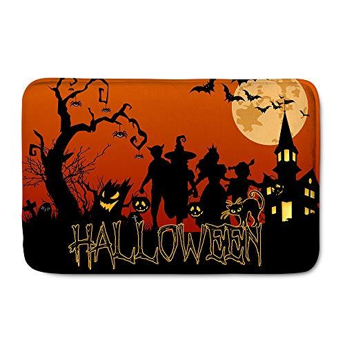 HUGS IDEA Happy Halloween Doormats Entryway Door Mats Soft Non-Slip Modern Door Mats Indoor Floor Carpet Office Home -