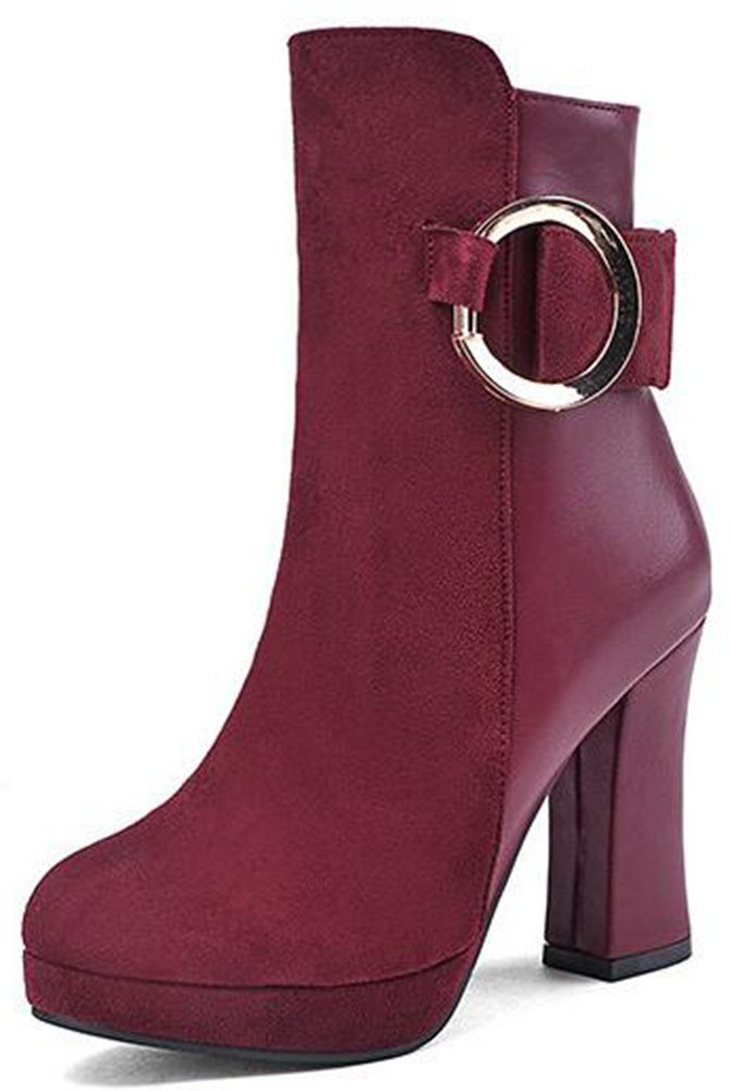 Summerwhisper Women's Sexy Faux Suede Buckle Strap Round Toe Booties Side Zipper Chunky High Heel Platform Ankle Boots Shoes Wine Red 6 B(M) US