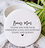 """Bonus Mom Step Mother of the Bride or Groom Thank You Gift Idea for StepMom from Daughter or Son Ceramic Round 3"""" Jewelry Box"""