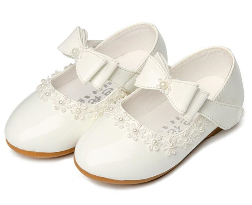 Bumud Little Girl's Adorables Mary Jane Front Bow Ballerina Flat Shoes (5 M US Toddler, White)
