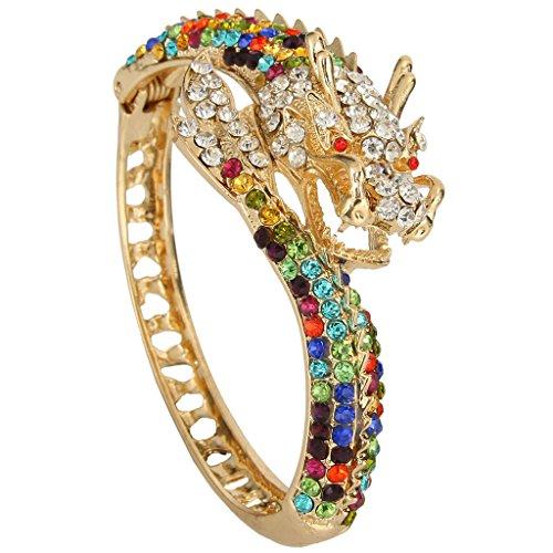 (EVER FAITH Women's Austrian Crystal Cool Animal Fly Dragon Bangle Bracelet Multicolor Gold-Tone)